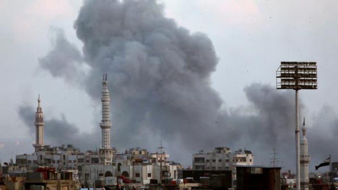 من القصف على مخيم اليرموك يوم 21 إبريل