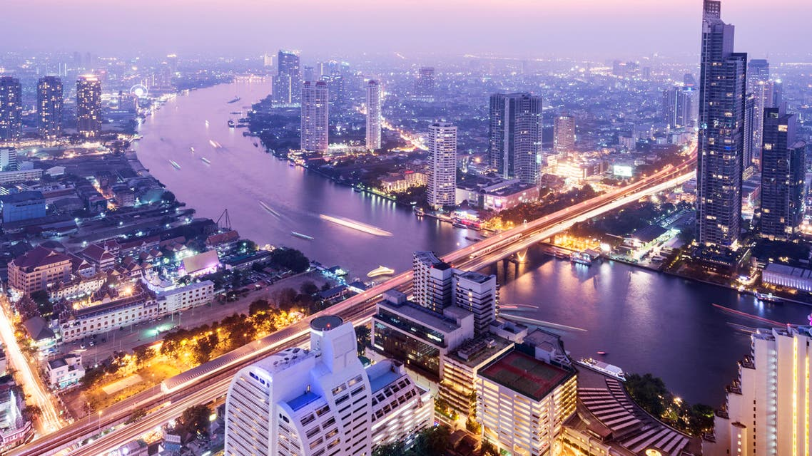 Aerial View of the the Bangkok Skyline Thailand - Stock image