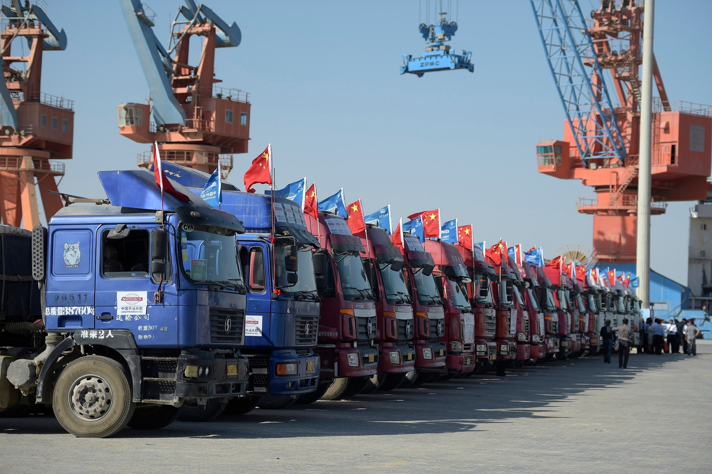 Chinese trucks carrying first trade goods are pictured parked at the Gwadar port, some 700 kms west of Karachi, on November 13, 2016. (AFP)
