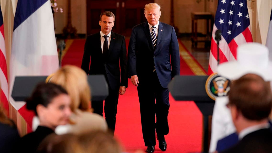 French President Emmanuel Macron and President Trump at the White House in Washington on April 24, 2018. (Reuters)