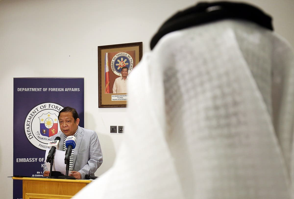 Filipino Ambassador in Kuwait Renato PO Villa speaks during a press conference at the Philippines embassy in Kuwait City on April 21, 2018. (AFP)