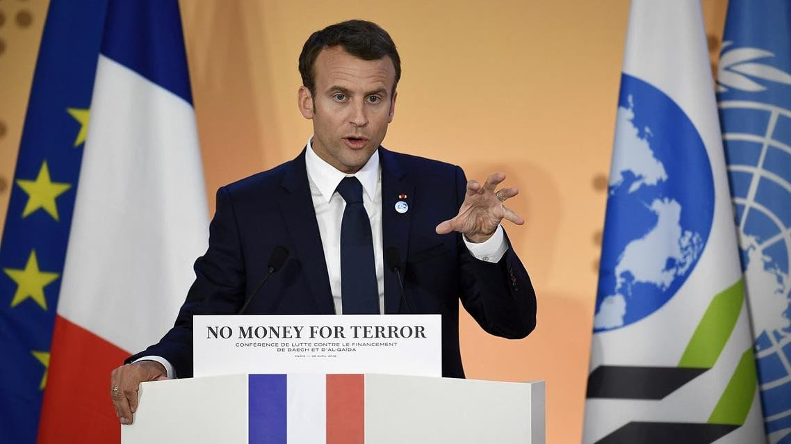 French President Emmanuel Macron gives a speech as part of an international conference to discuss ways of cutting funding to groups including Islamic State and al-Qaeda, a the OECD headquarters in Paris. (Reuters)
