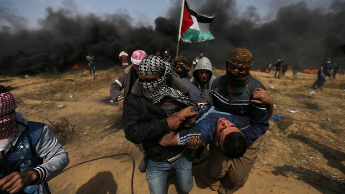 من المواجهات مع قوات الاحتلال في غزة 27-4-2018