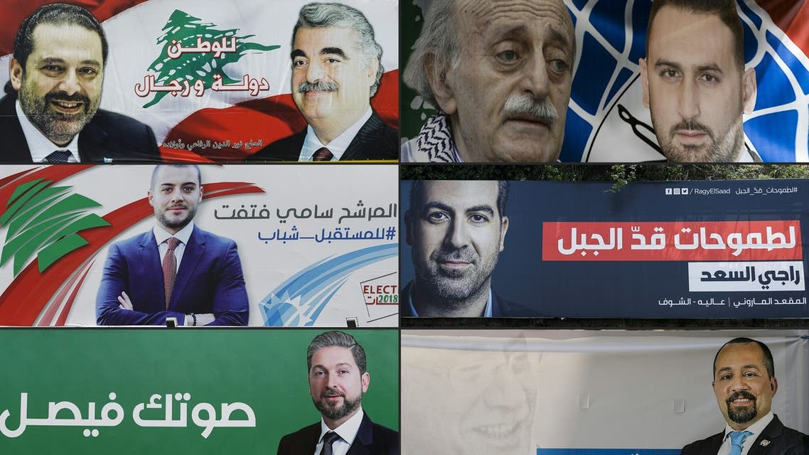 (COMBO) This combination of pictures created on April 19, 2018 shows the electoral banners of Lebanese candidates in the upcoming parliamentary elections, of (top from L to R) Camille Chamoun and his late grandfather and Lebanese president bearing the same name hanging in Kahhale, current Prime Minister Saad Hariri and his late father and former PM Rafic Hariri in Beirut, current MP Walid Jumblatt and his son Taymour Jumblatt in Beirut, (middle from L to R) Nehme Frem in Nahr Ibrahim, Sami Fatfat in Tripoli, Raji Assaad in Araya, (bottom from L to R) Tony Franjieh in Monsef, Faisal Karameh in Tripoli, and Zaher Eido in Beirut. For decades the same families have played a pivotal role in the small Middle Eastern country, officially ruled by a parliamentary democratic system but where political power is still informally handed down through generations.