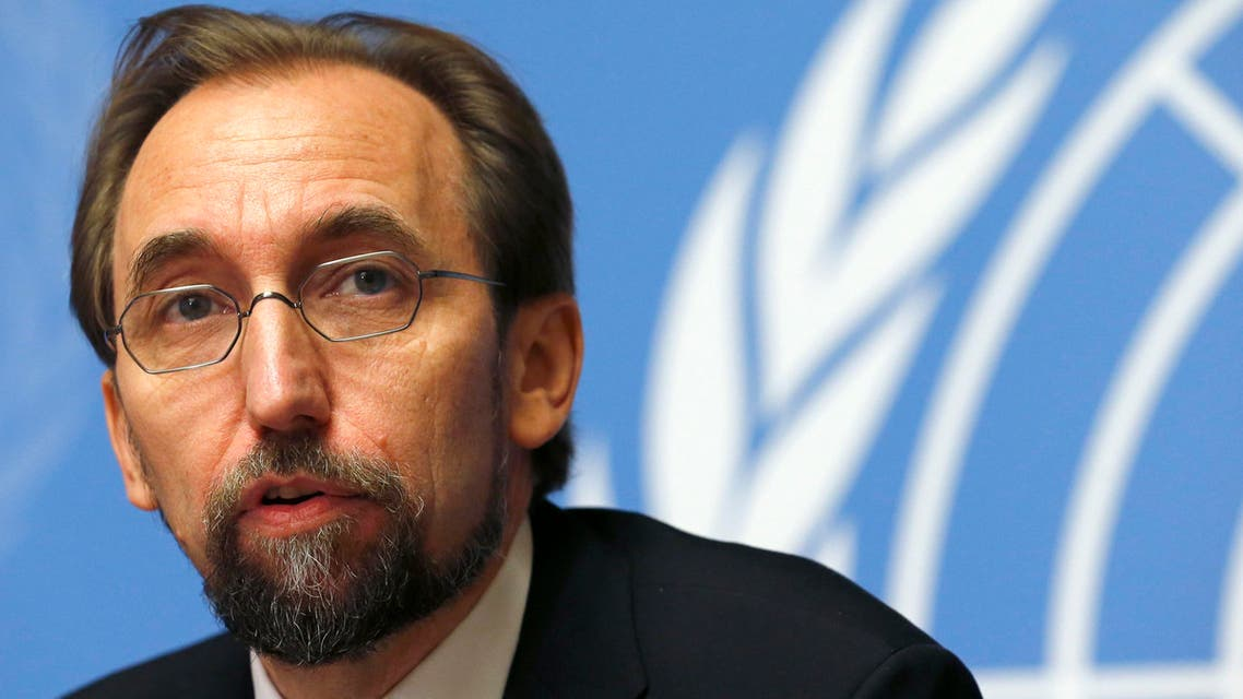 Jordan's Prince Zeid Ra'ad Zeid al-Hussein, U.N. High Commissioner for Human Rights pauses during a news conference at the United Nations European headquarters in Geneva October 16, 2014. REUTERS/Denis Balibouse (SWITZERLAND - Tags: POLITICS ROYALS)