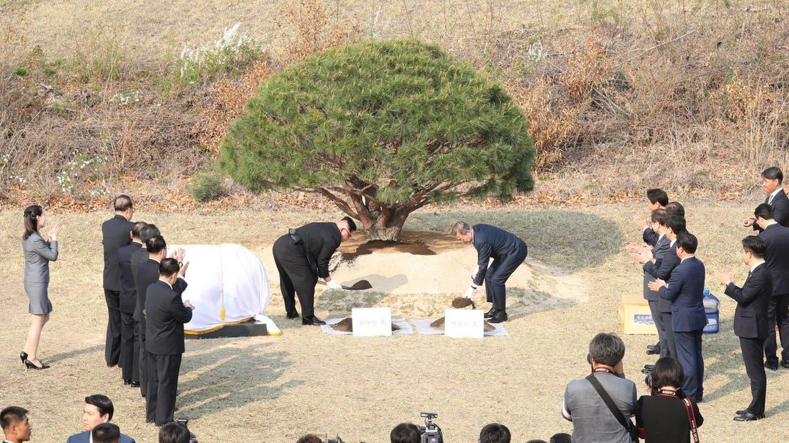 الزعيمان يزرعان شجرة على الحدود