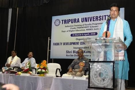 Tripura CM Biplob Deb propagating that Internet existed in ancient India. (Supplied)