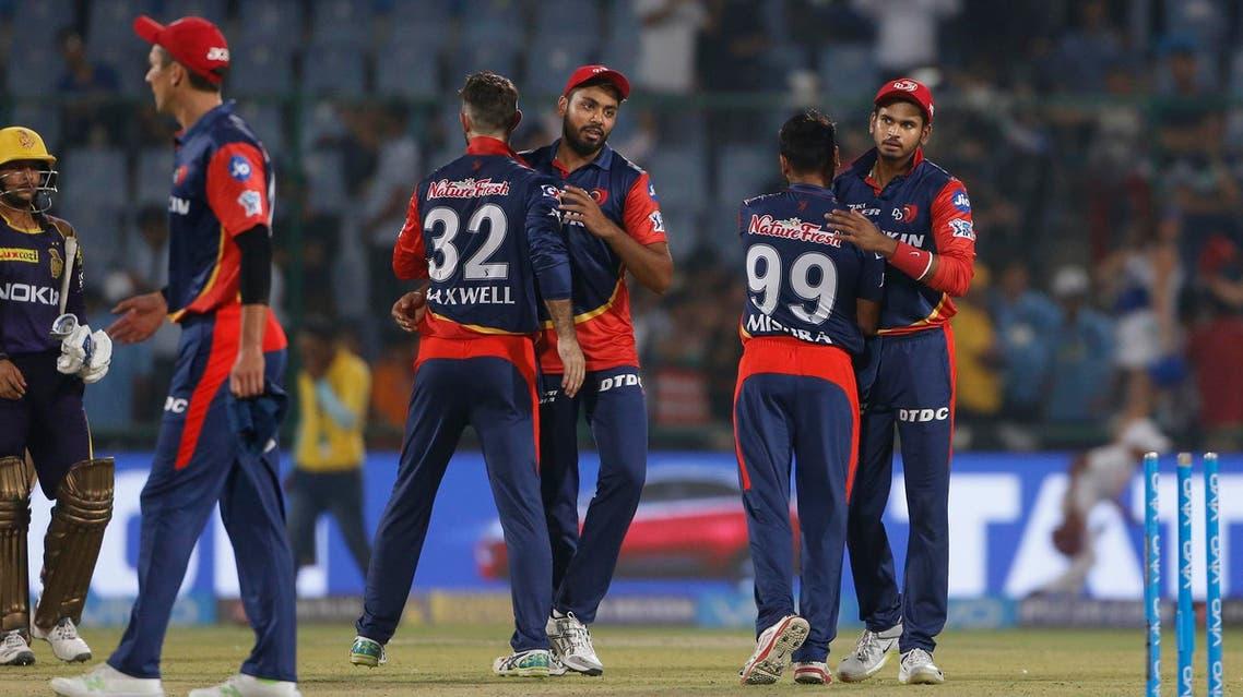 Delhi Daredevils celebrate win over Kolkata Night Riders on April 27, 2018. (AP)