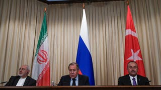 وزير خارجية تركيا وروسيا وإيران