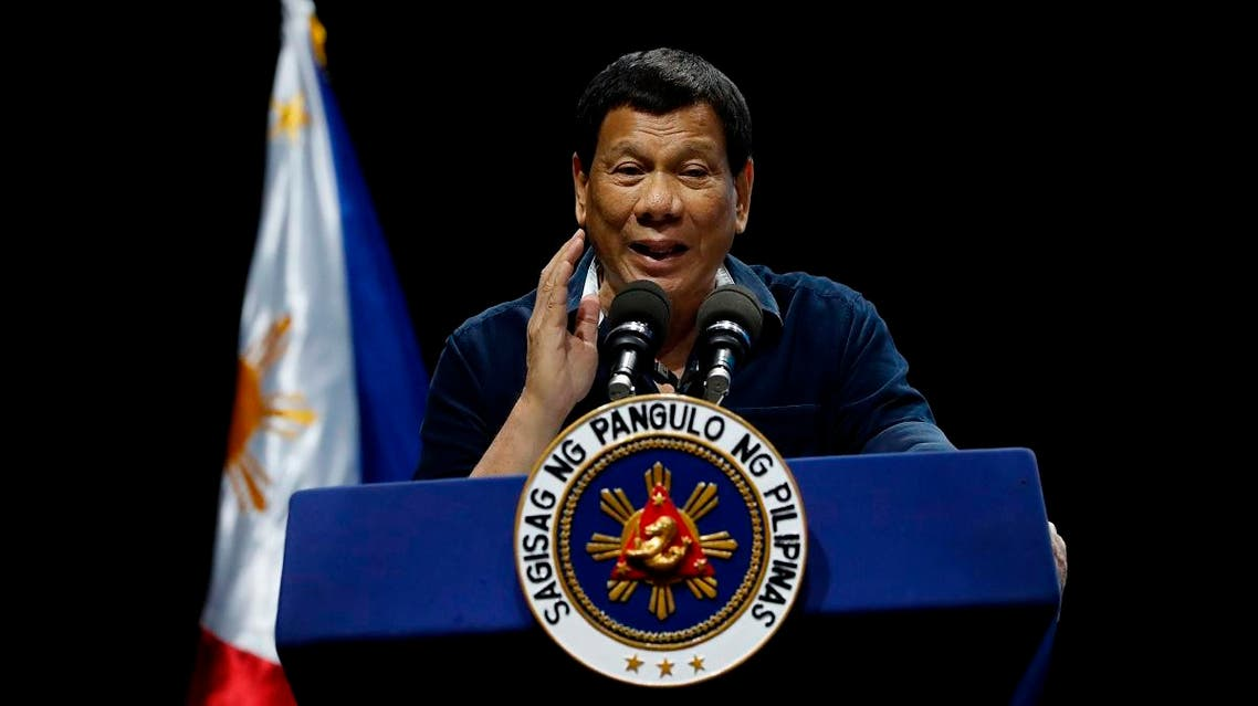 Philippine President Rodrigo Duterte addresses the Filipino community in Singapore. (AP)
