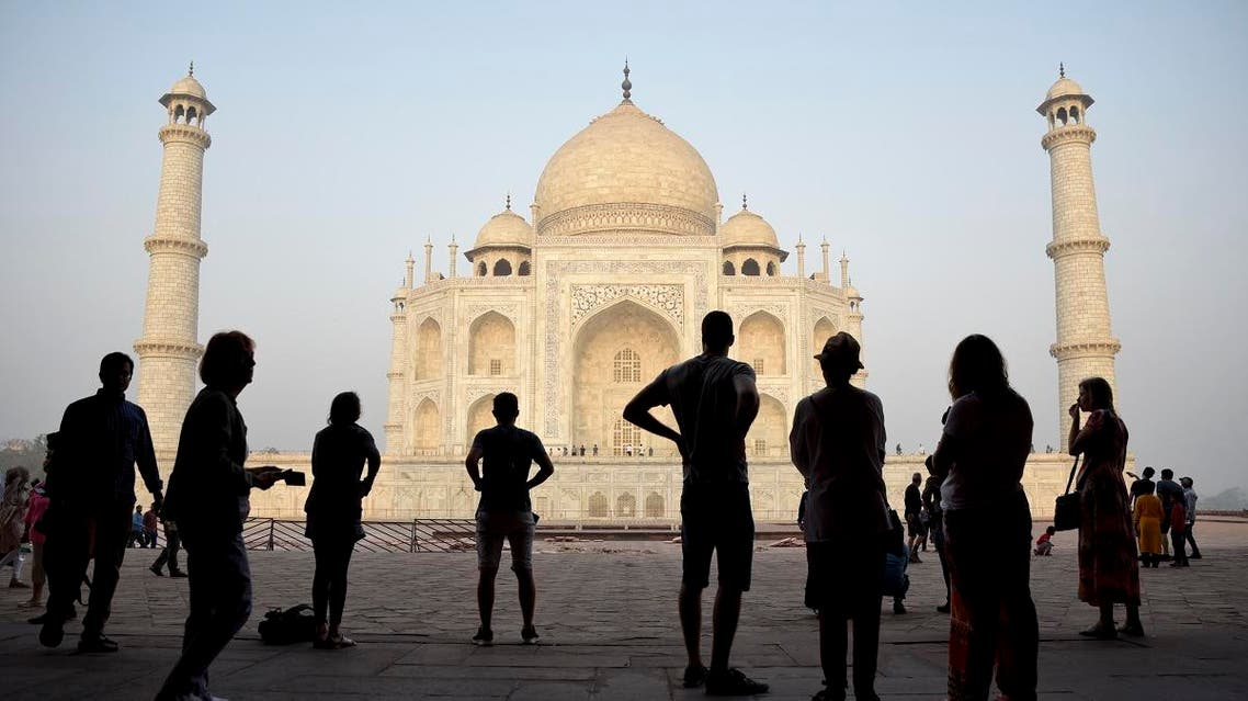 Tourists visit India's famed monument of love, the Taj Mahal, in Agra, India. (AP)