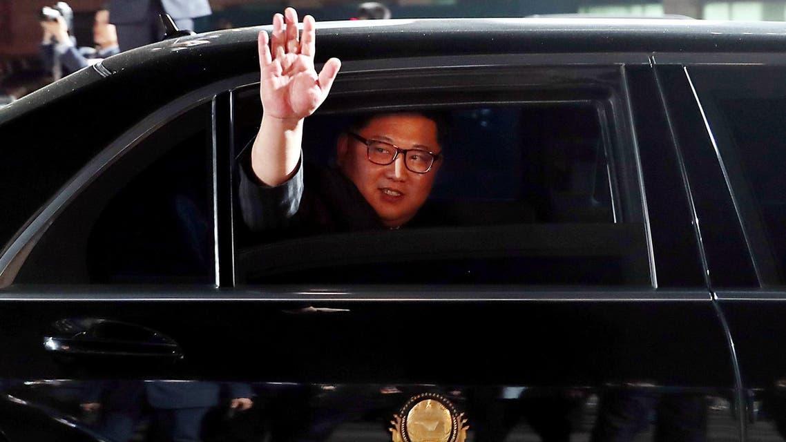 orth Korean leader Kim Jong Un (inside a vehicle) bids farewell to South Korean President Moon Jae-in on Saturday. (Reuters)