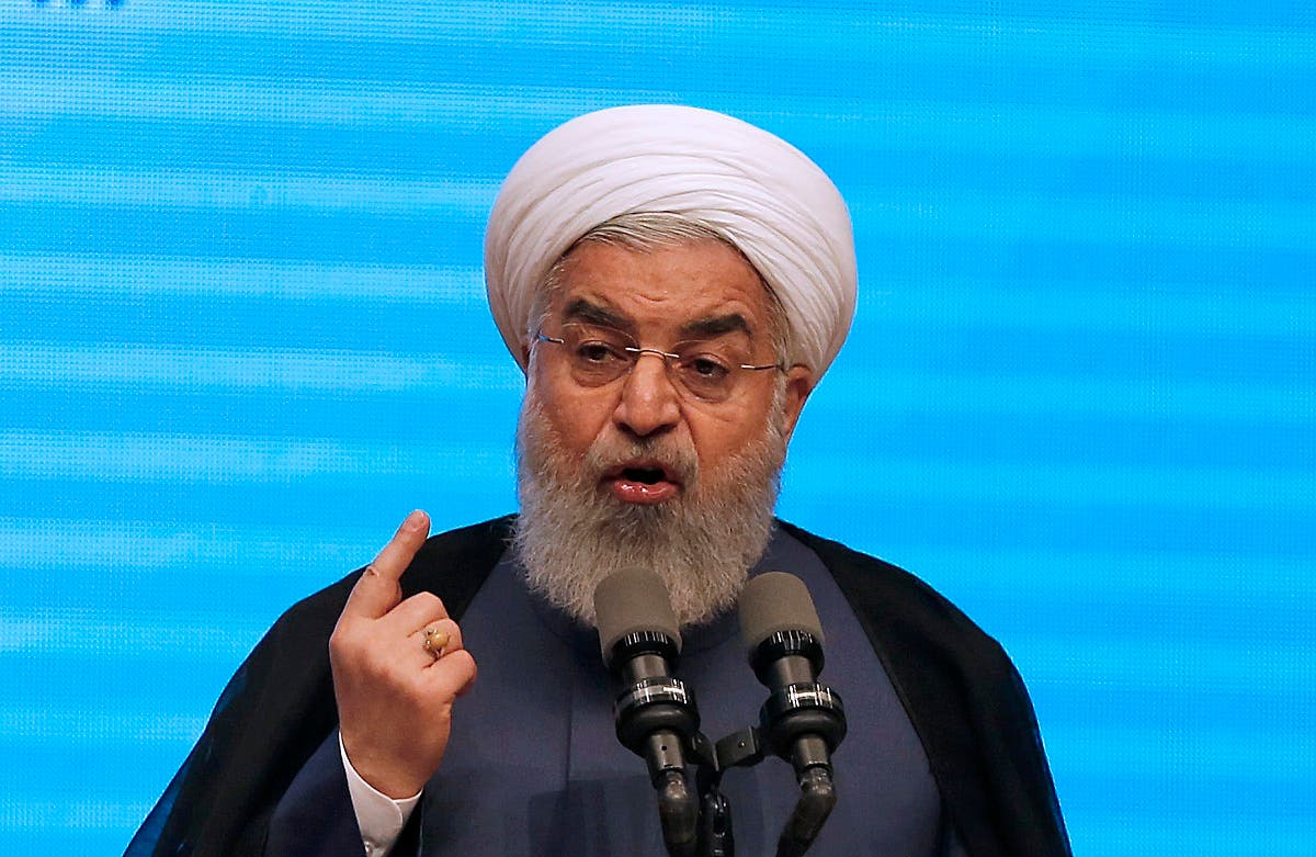 Iran's president Hassan Rouhani gives a speech in the city of Tabriz in the northwestern East-Azerbaijan province. (AFP)