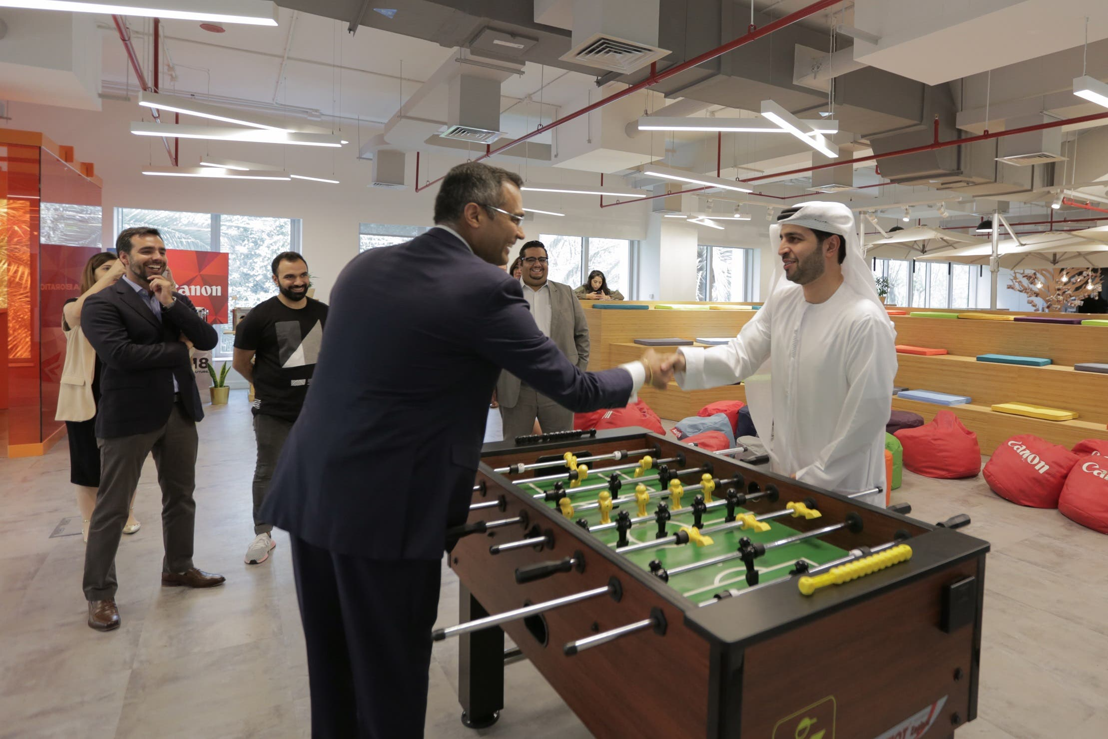 Ammar Al Malik (right) and Anurag Agrawal (left) during the launch of Space360. (Supplied)