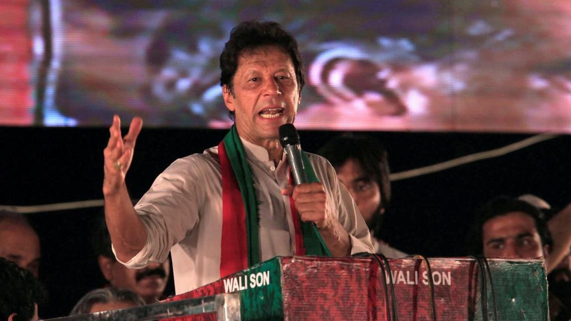 Opposition leader Imran Khan speaks to supporters during a celebration rally after the Supreme Court disqualified Prime Minister Nawaz Sharif in Islamabad. (Reuters)