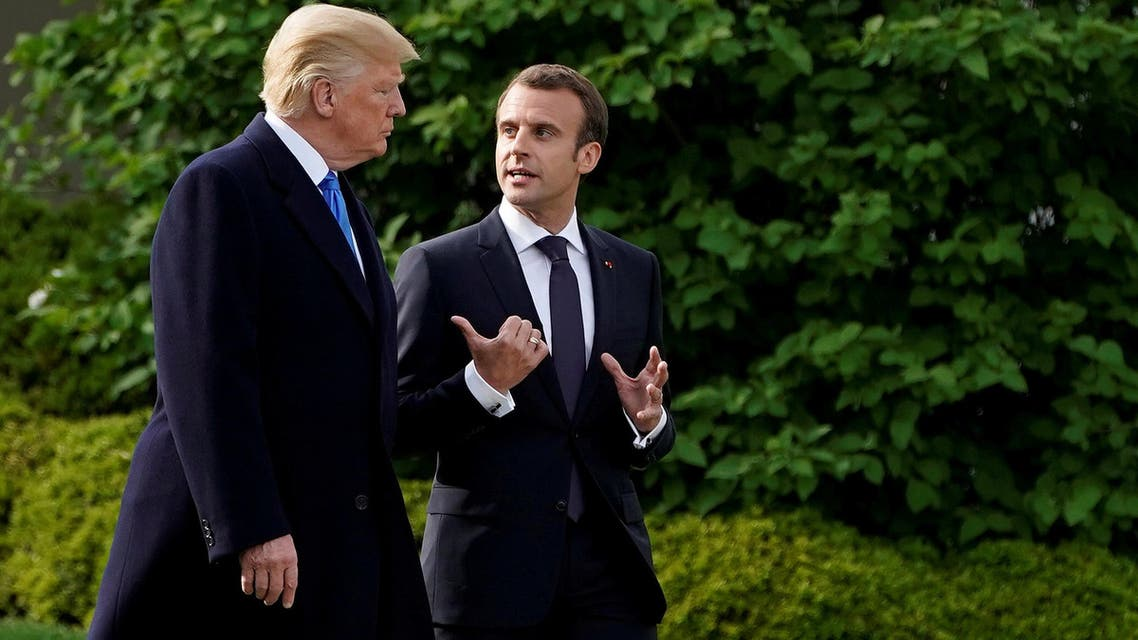 President Trump and French President Emmanuel Macron walk from the Oval Office of the White House in Washington on April 23, 2018. (Reuters)