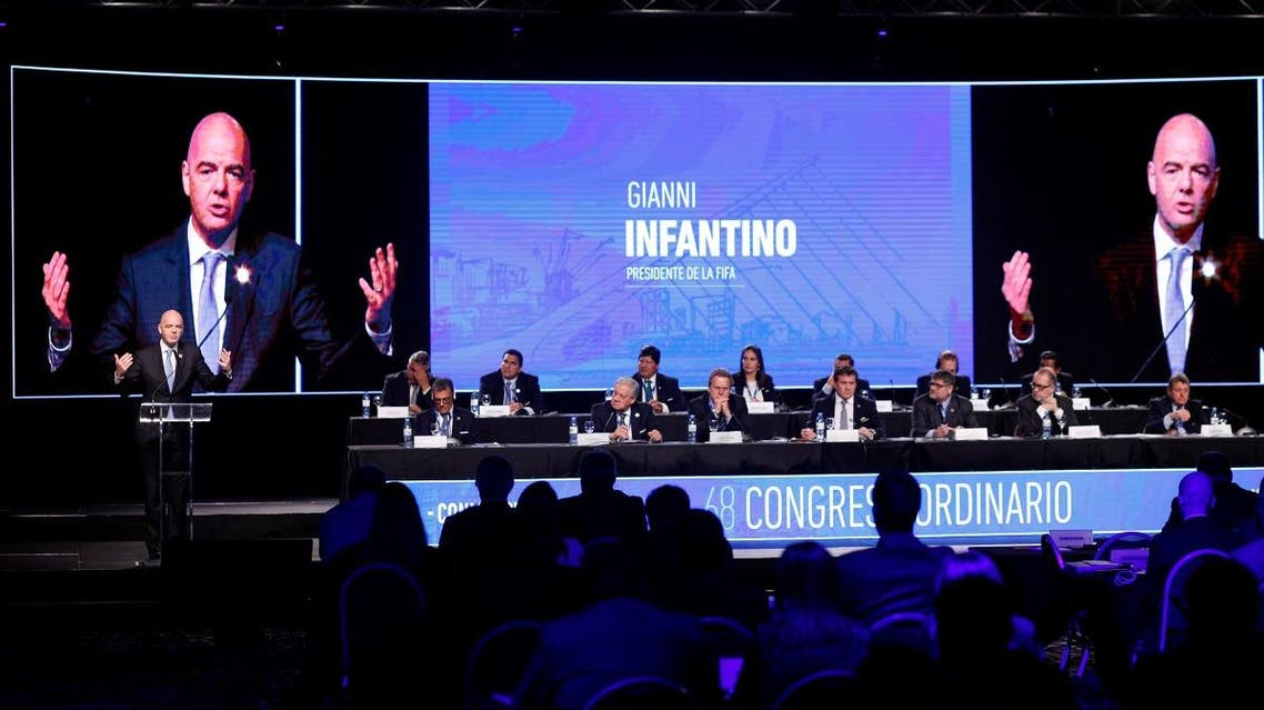 FIFA President Infantino delivers a speech at the 68th Ordinary CONMEBOL Congress in Buenos Aires. (Reuters)