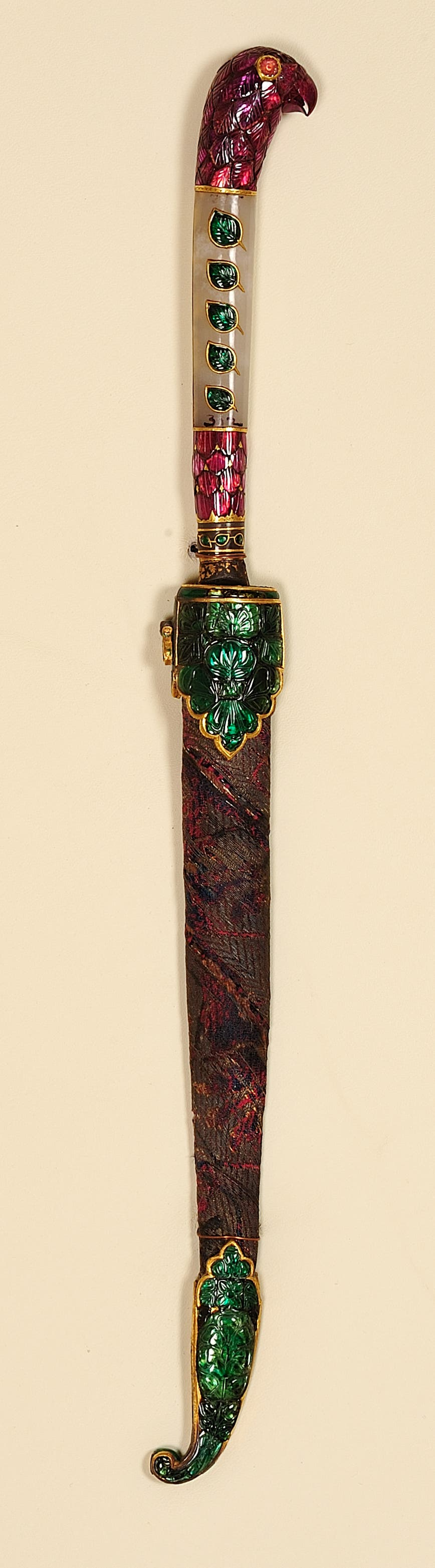 Fruit knife belonging to Queen Noorjahan with a jade hilt and inlaid with precious stones, 17th century. (Supplied)