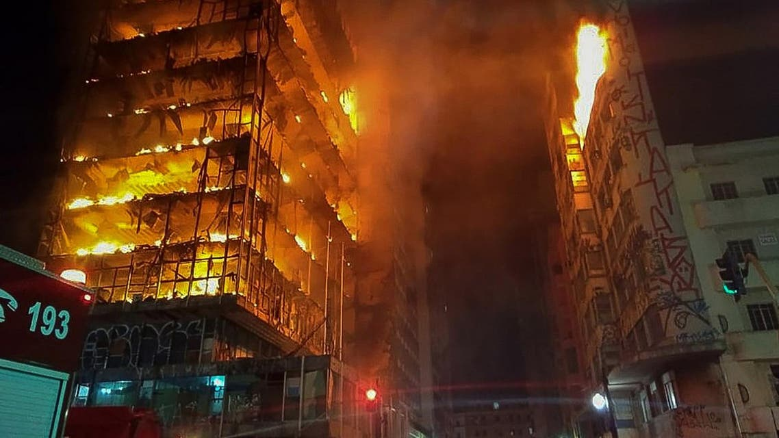 flames engulfing a building in the city centre of Sao Paulo. (AFP)