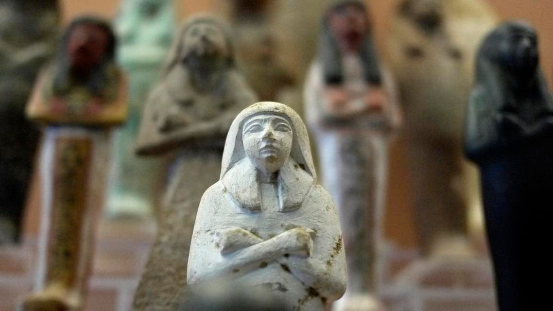 Ushabtis, funerary figurines meant to represent the deceased person in the afterlife, are seen at the Egyptian Museum in the Vatican Museums. (Illustrative photo: AFP)