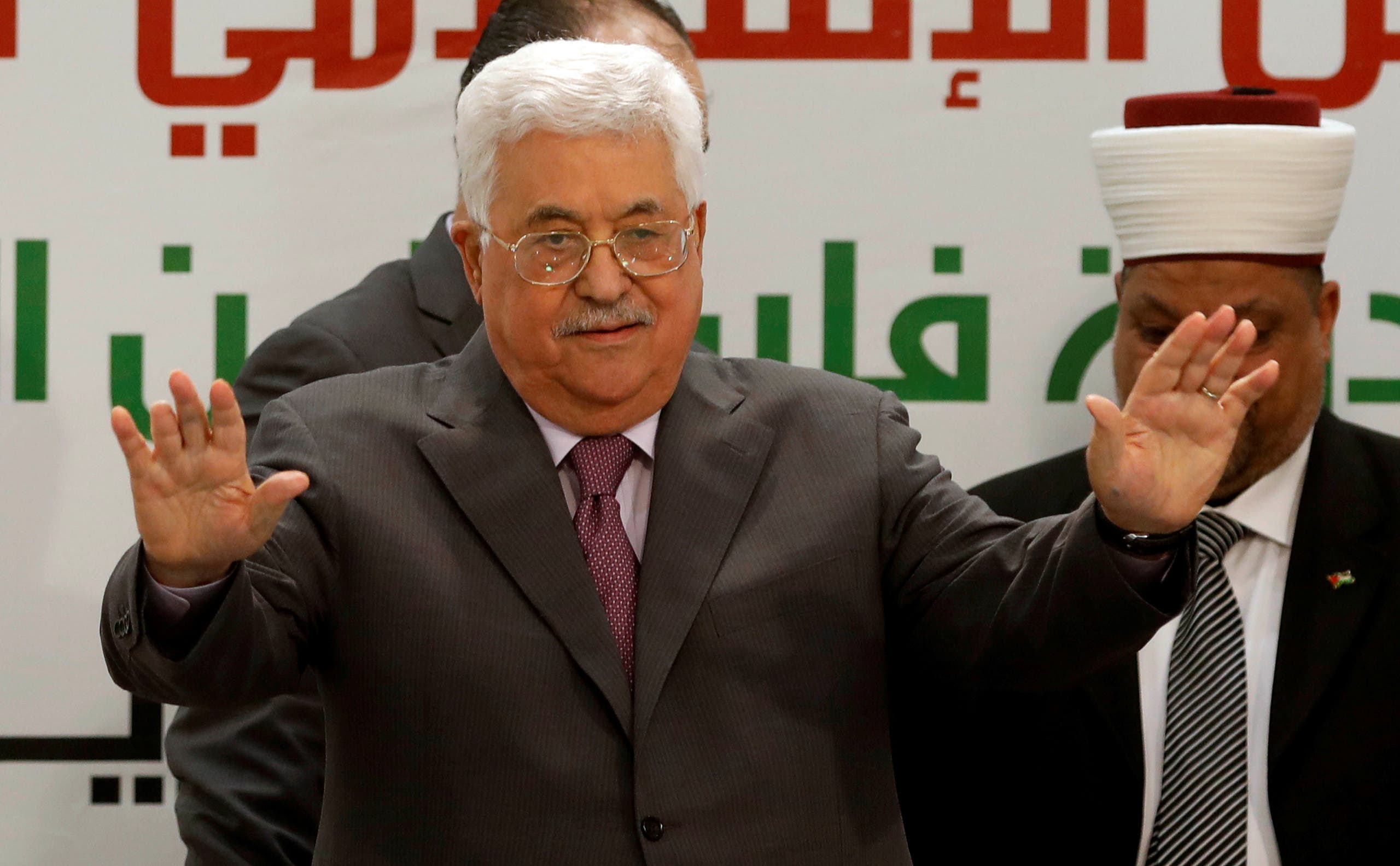Mahmoud Abbas gestures during a conference in Ramallah on April 11, 2018. (Reuters)