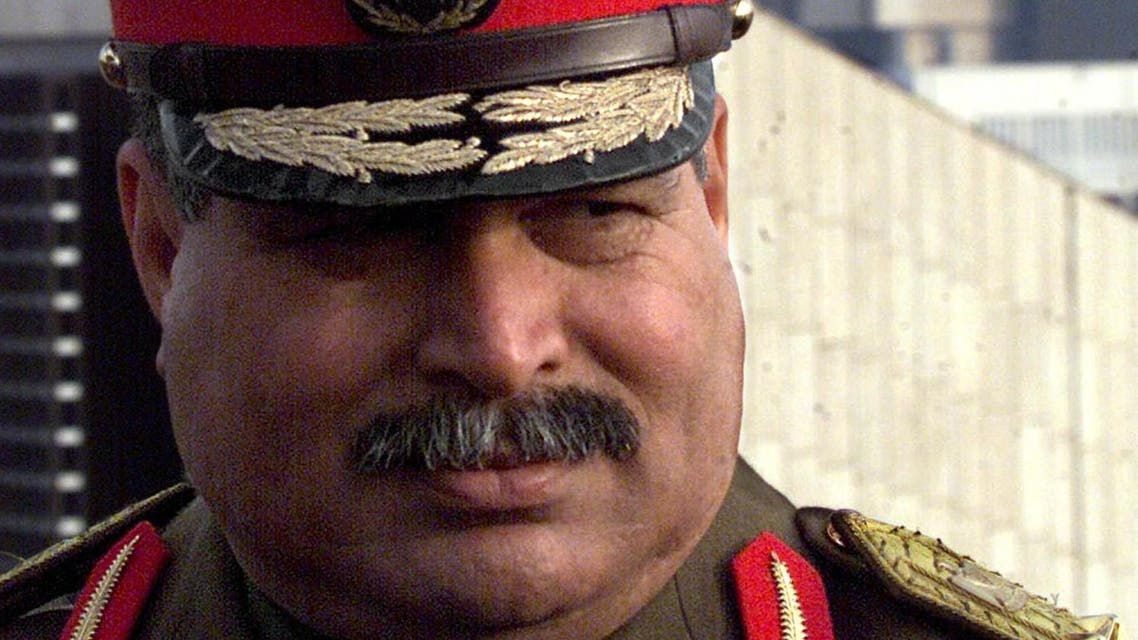 General Sultan Hashem Ahmad in front of Baghdad's rebuilt Ministry of Military Production on 12 January 2001. (AFP)