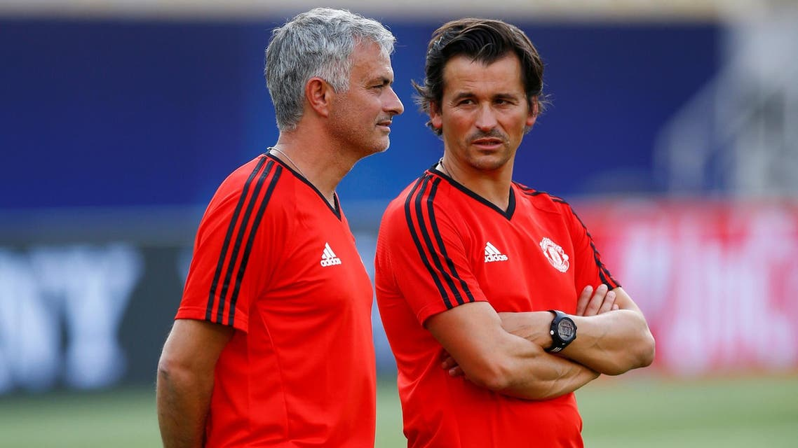 Jose Mourinho and assistant manager Rui Faria during training on August 7, 2017. (Reuters)