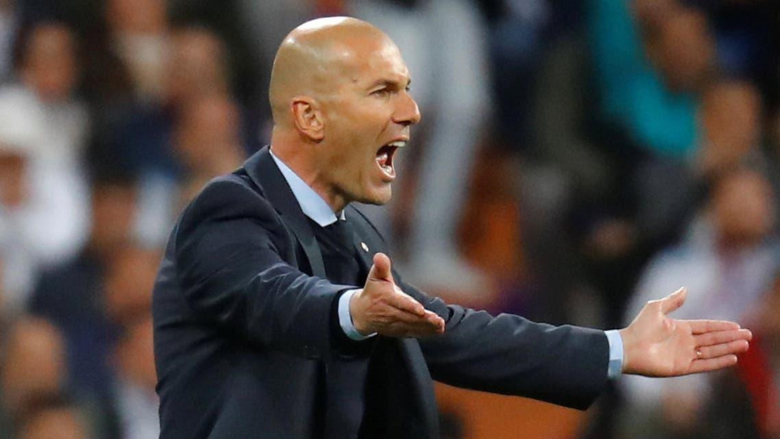 Real Madrid coach Zinedine Zidane reacts. (Reuters)