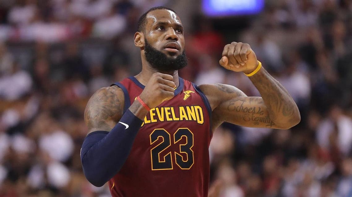 Cleveland Cavaliers forward LeBron James (23) celebrates after making a basket against the Toronto Raptors in game two of the second round of the 2018 NBA Playoffs. (Reuters)