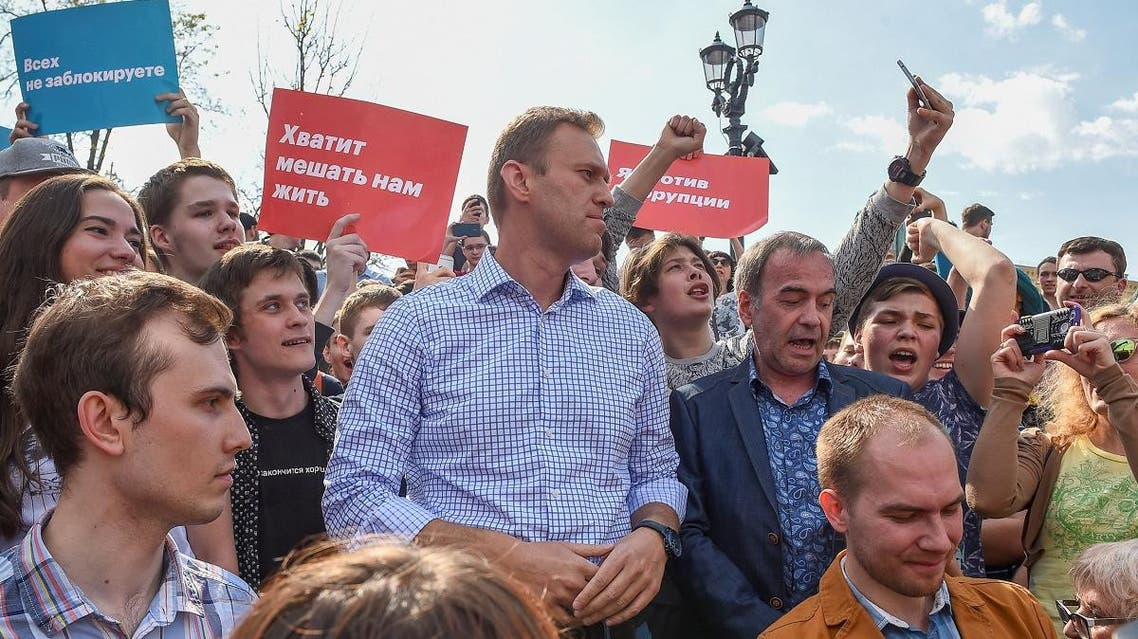 Russian opposition leader Alexei Navalny attends a protest rally ahead of President Vladimir Putin's inauguration ceremony. (Reuters)