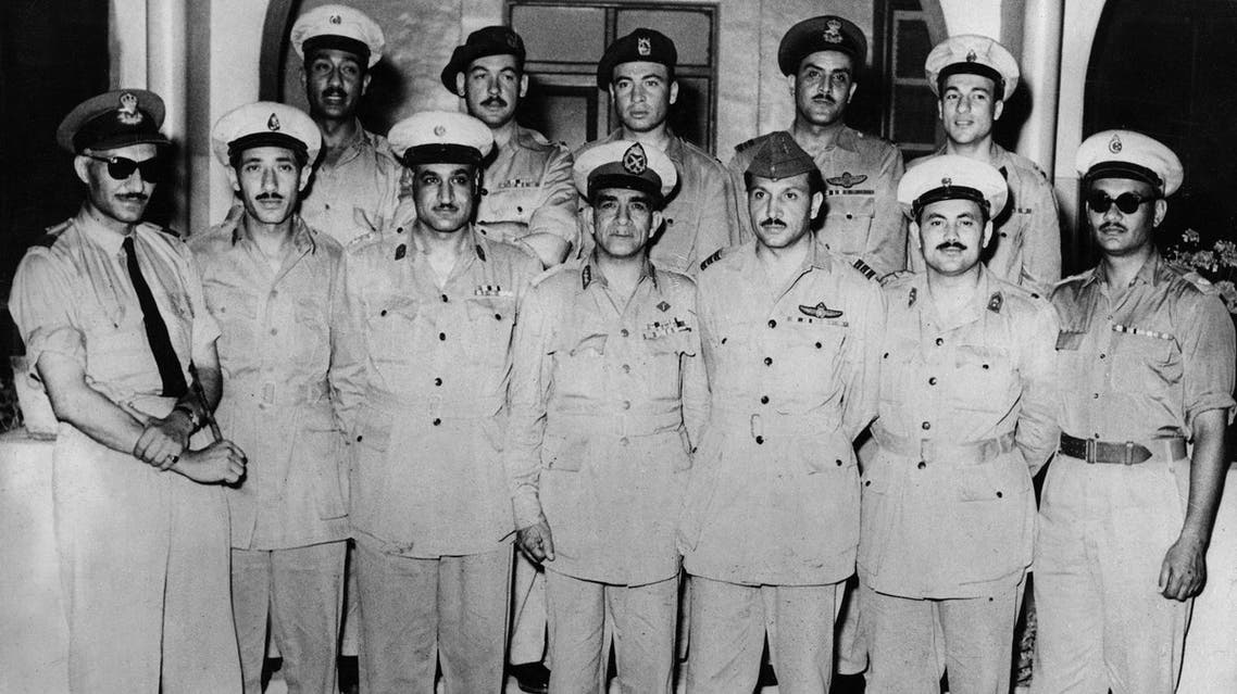 The 12- man Revolutionary Council which proclaimed Egypt a Republic on June 18, 1953, is pictured at the Council's headquarters in Cairo on June  20, 1953. Major Khaled Mohieddin is seen in second row third from right. (AFP)