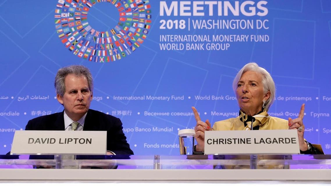 International Monetary Fund (IMF) Managing Director Christine Lagarde and IMF Deputy Managing Director David Lipton hold an opening news conference ahead of the IMF/World Bank spring meeting in Washington. (Reuters)