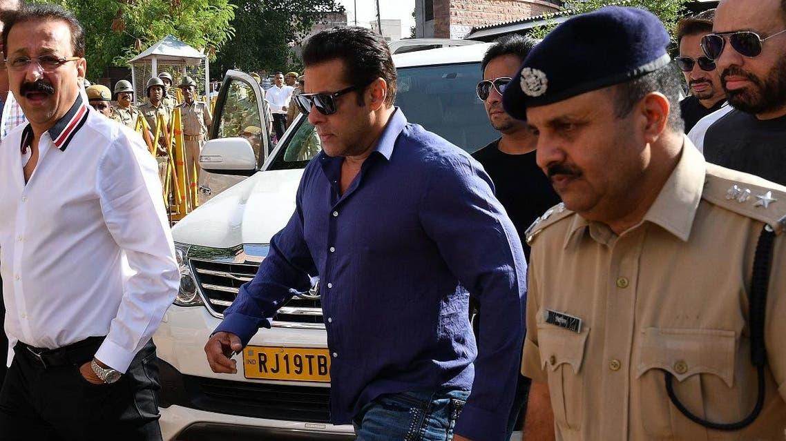 Indian Bollywood actor Salman Khan arrives at a court in Jodhpur. (AFP)