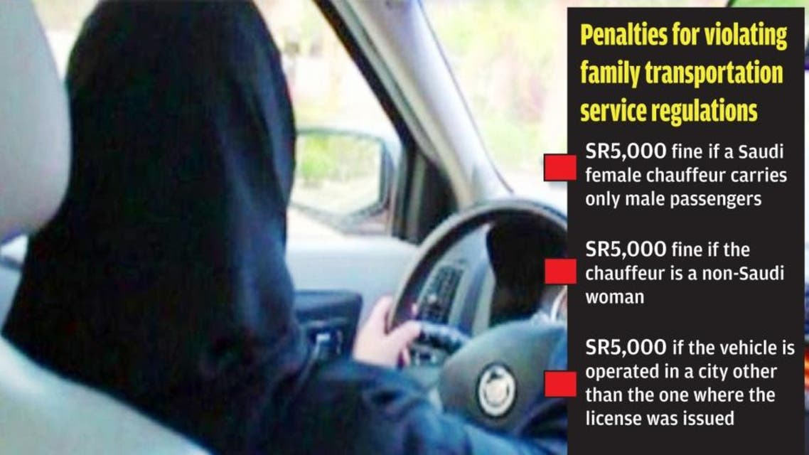 Saudi female drivers of family transport service should only operate in the city where the license was issued. (SG)