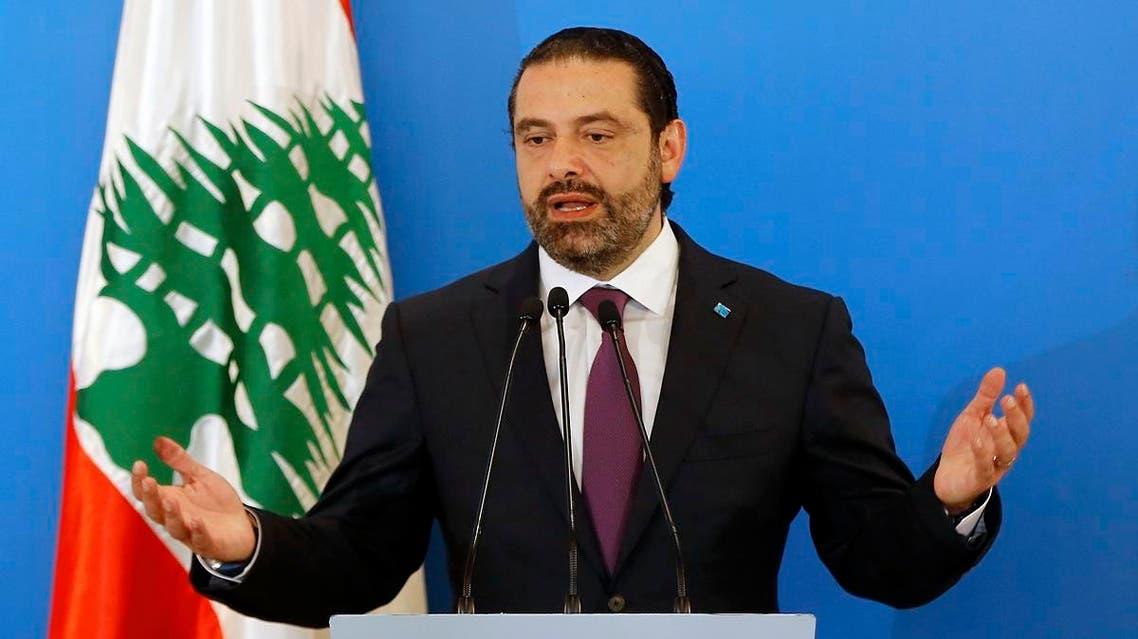 Lebanese Prime Minister Saad Hariri speaks during a press conference in Beirut. (AP)