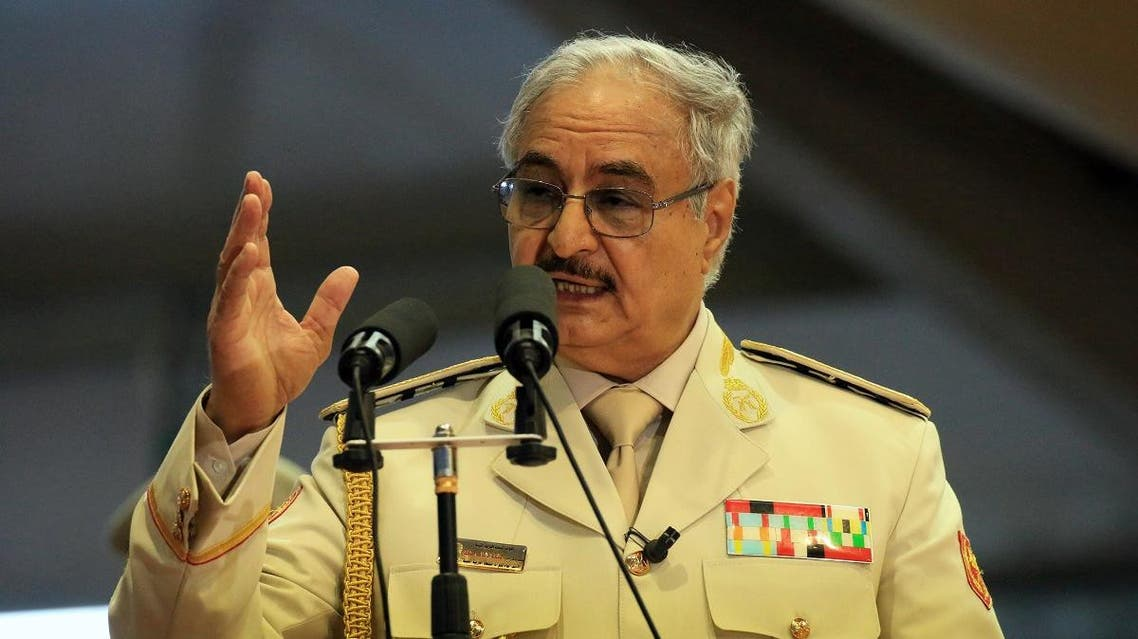 Libyan Strongman Khalifa Haftar attends a military parade in the eastern city of Benghazi. (AFP)