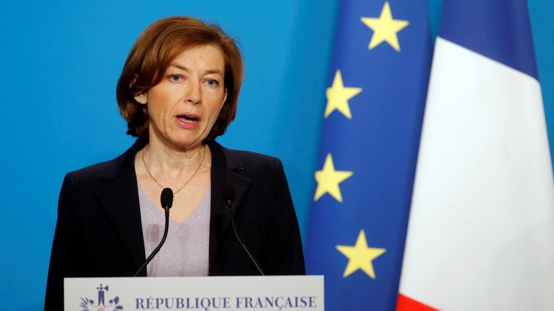 وزيرة الدفاع الفرنسية فلورنس بارلي تتحدث في باريس يوم 14 إبريل