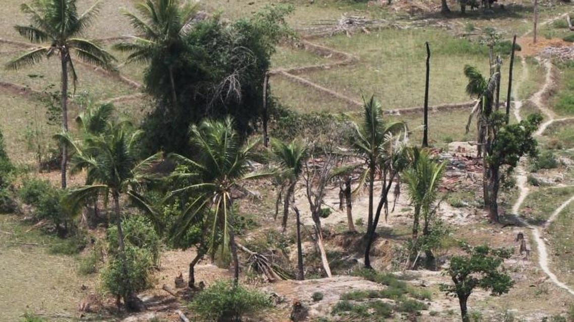 Aerial views of where the Rohingya once lived