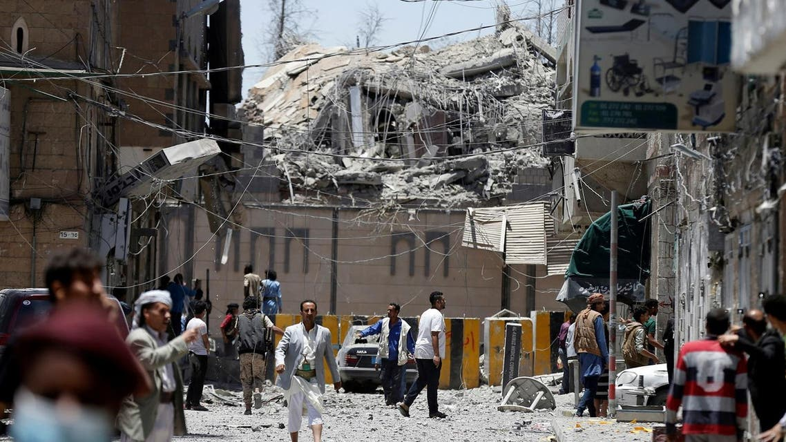 A view of a part of the presidential compound after it was hit by air strikes in Sanaa. (Reuters)
