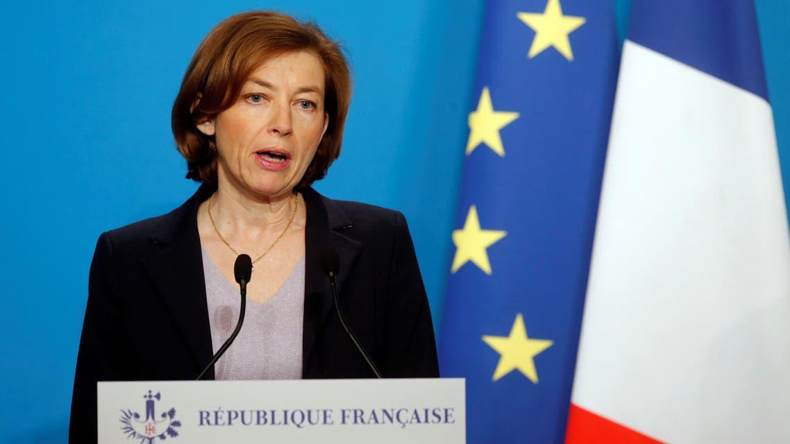 وزيرة الدفاع الفرنسية فلورنس بارلي تتحدث في باريس يوم 14 ابريل 2018