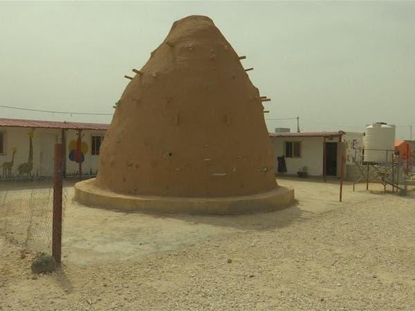 قاعة دراسية من أكياس الرمل في مخيم الزعتري بالأردن