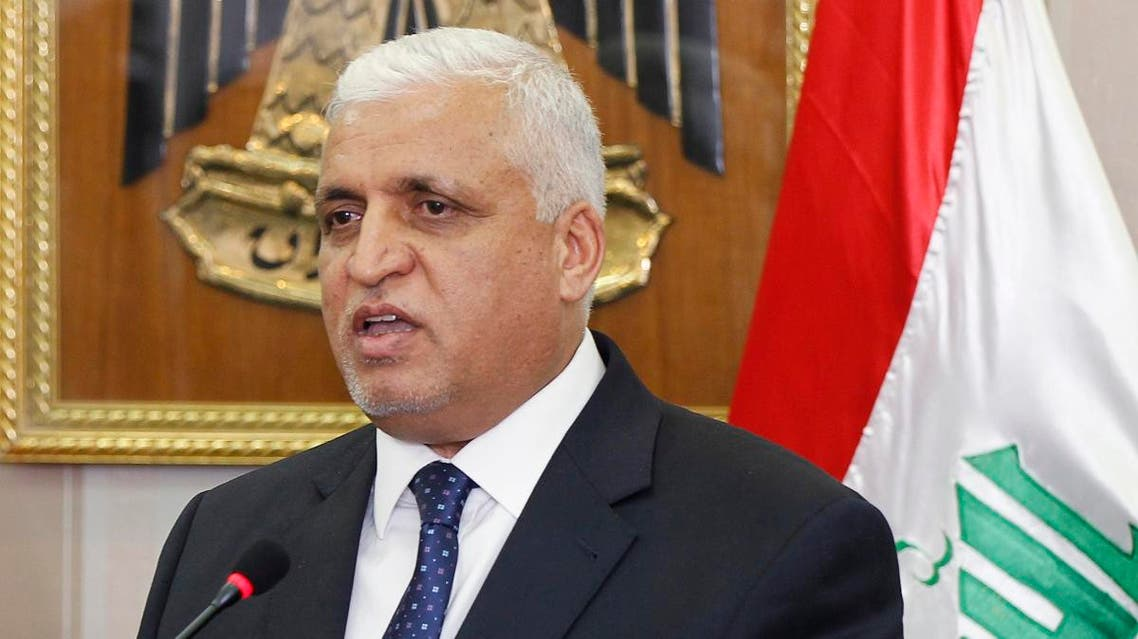 Iraqi National Security Adviser Faleh Al-Fayad speaks to the media during. (Reuters)
