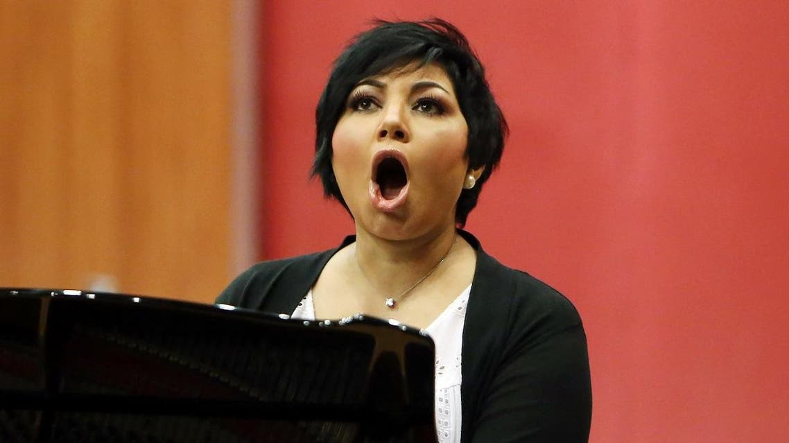 Kuwaiti opera singer Amani Hajji, practices at the Higher Institute for Musical Arts in Kuwait City. (AFP)