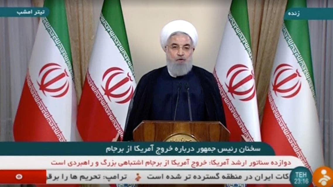 A screengrab picture on May 8, 2018 shows President Hassan Rouhani giving a speech on Iranian TV in Tehran. (Reuters)