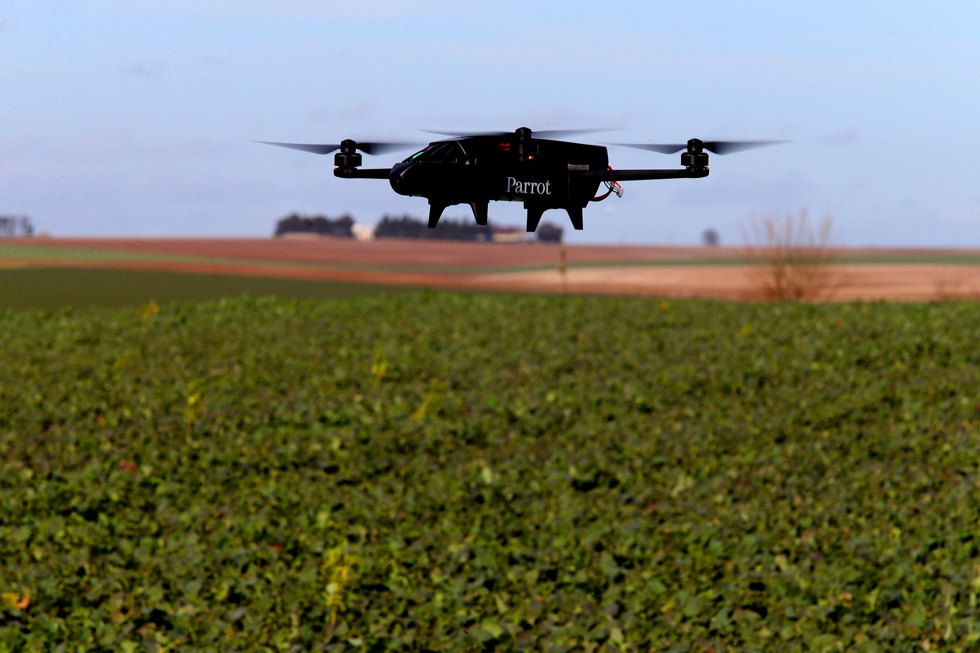 A drone which supplies tools for connected agriculture is flown over French rapeseed field on February 16, 2018. (AFP)