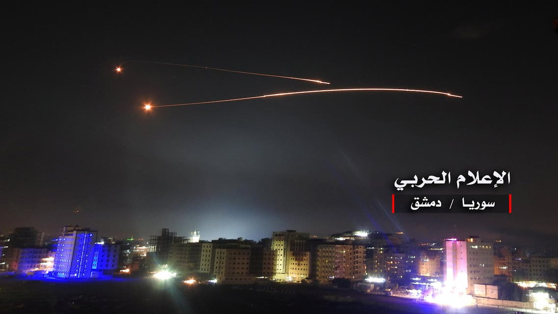 Missiles fire is seen over Damascus in this handout released on May 10, 2018. (Reuters)