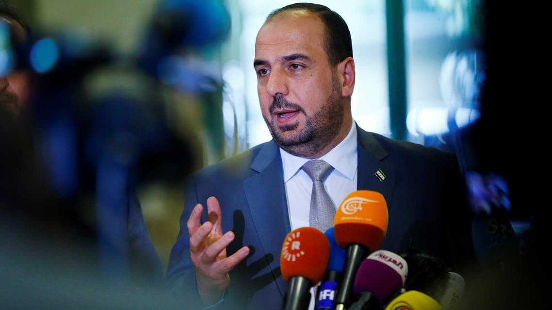 HNC leader Nasr al-Hariri speaks to the media at the United Nations Offices in Geneva on May 19, 2017. (Reuters)