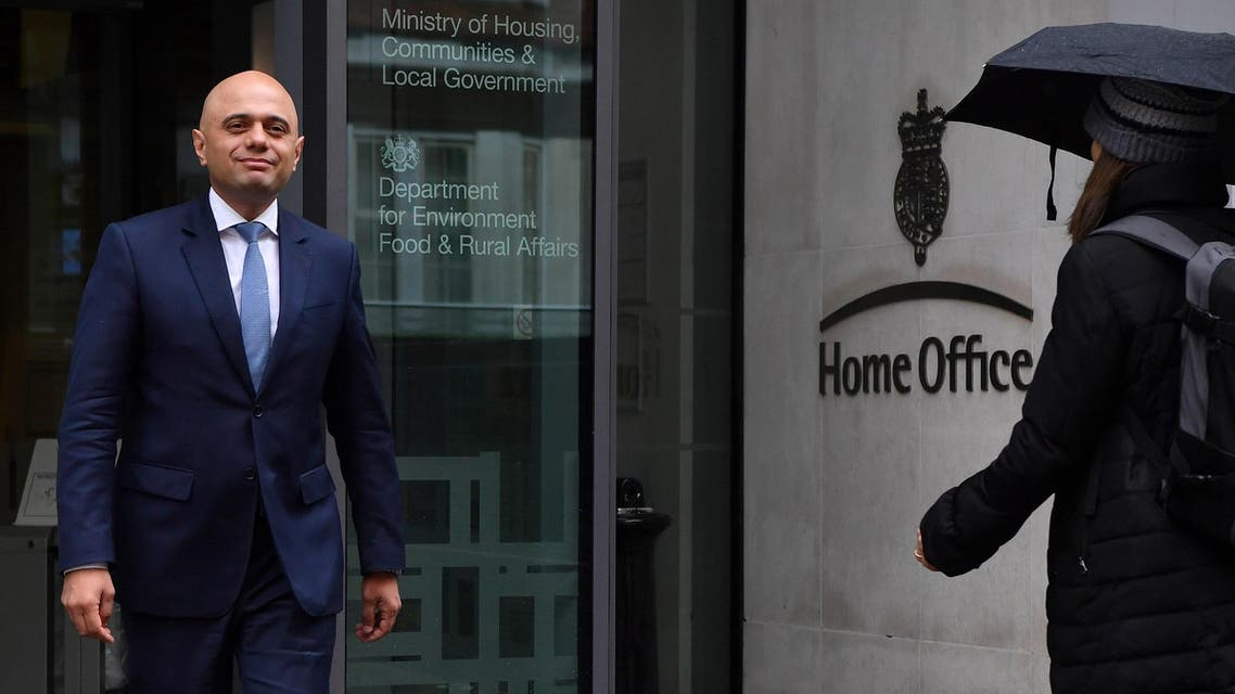 Sajid Javid exits the Home Office in central London on April 30, 2018. (AFP)