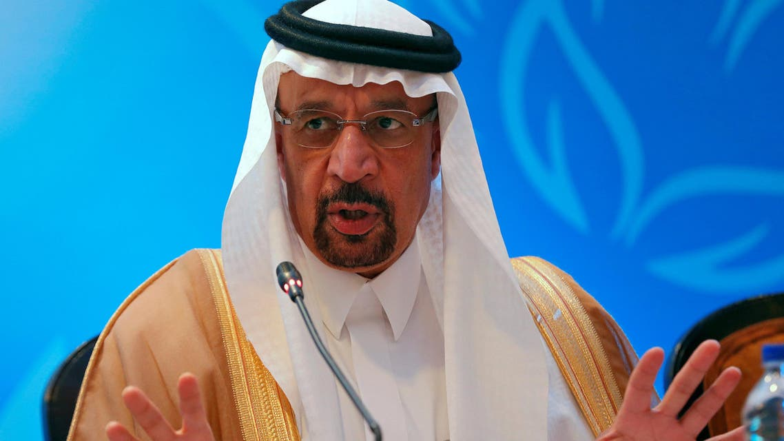 Saudi Energy Minister Khalid al-Falih speaks with the media during the International Energy Forum (IEF) in New Delhi, India, on April 11, 2018. (Reuters)
