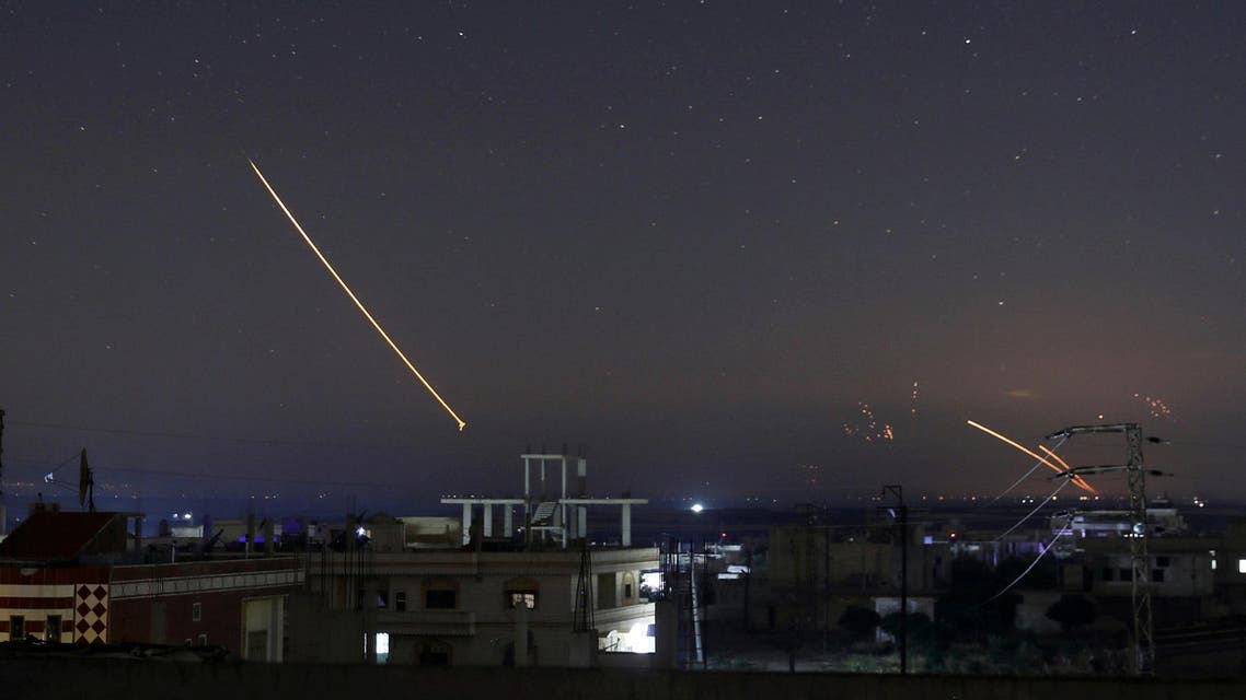 Missile fire is seen over Daraa, Syria May 10, 2018. (Reuters)